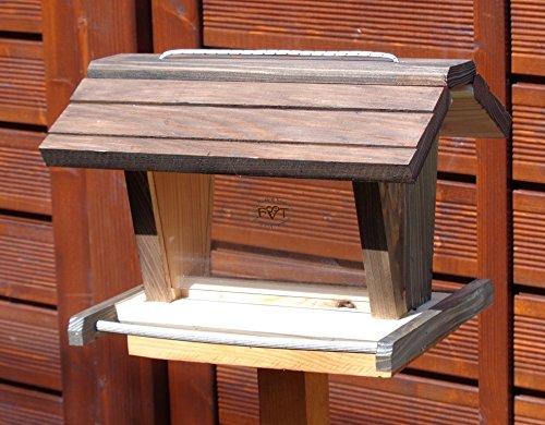 vogelhaus mit ständer BTVK-VOFU2G-MS-at001 NEU PREMIUM-Qualität,Vogelhaus,mit ständer, 3D-SILO – VOGELFUTTERHAUS MIT 2 GROSSEN SICHTSCHEIBEN Qualität Schreinerware 100% Massivholz – VOGELFUTTERHAUS MIT FUTTERSCHACHT-Futtersilo Futterstation Farbe schwarz lasiert, anthrazit / Holz natur, Ausführung Naturholz, mit KLARSICHT-Scheibe zur Füllstandkontrolle - 3