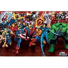 """Pirámide Internacional """"ataque Póster Marvel Heroes"""", multicolor, 61x 91,5x 1,3cm"""