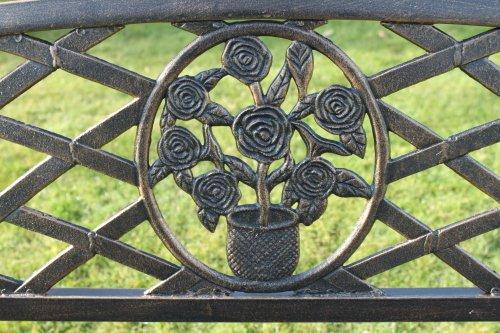 Metall-Gartenbank mit Blumenmuster-Einsatz INKLUSIVE AUFLAGE im Wert von 39,50 Euros (beim Kauf bei Olive Grove). (Schwarz) - 2