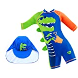 Swimsuit for Boys Cool Dinosaur Design Long Sleeve with Cap (UPF 50+) blocks 99% of UV Radiation