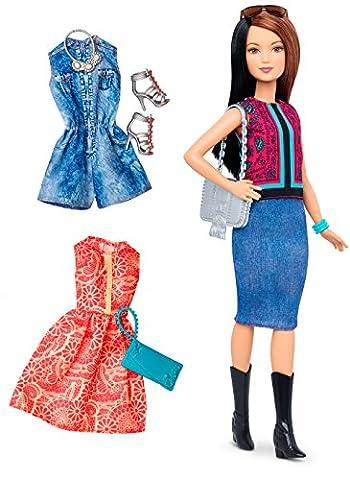 Mattel Barbie DTF04 Barbie Fashionistas Style Puppe und Moden mit