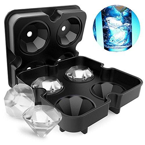 Pawaca 3D-Eiswürfelform Totenkopf, flexibles Silikon in Lebensmittelqualität, Eiswürfel in Form von Schädeln für Whiskey und Cocktails, 4 Gussformen in einer Schale Diamant