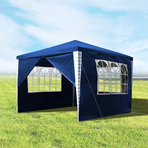 wolketon Pavillons 3x3m Gartenpavillon mit 4 Seitenteile Blau Partyzelt für Camping Hochzeit und Festival