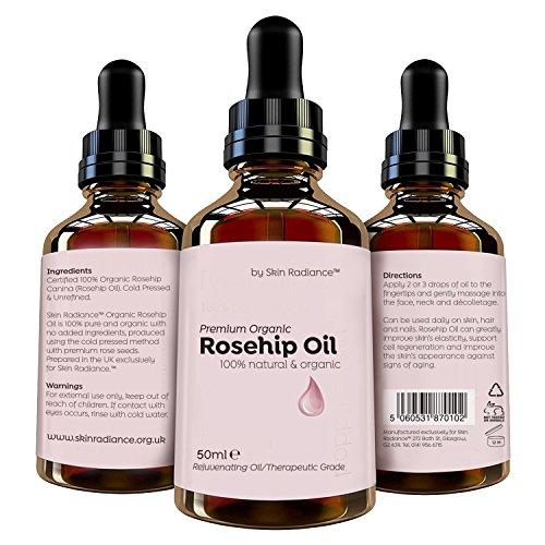 Huile de Rose Musquée Bio par Skin Radiance® Large 50ml - Huile 100% Bio de Graines de Rose Musquée, Pressée à Froid - Produit non testé sur les animaux et Végan Traitement des rides, hydrater etc.
