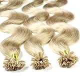 hair2heart 100 x Bonding Extensions aus Echthaar, 40cm, 1g Strähnen, gewellt - Farbe 20 aschblond