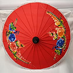 Asian Wood & Tissue Umbrella Ø 50, Handmade & Imported From Thailand (80123-rot-g)