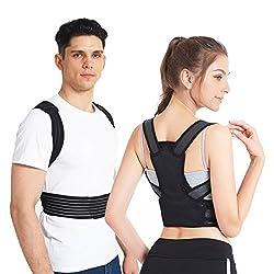 """Slimerence Rücken Haltungskorrektur, Rücken Schulter Verstellbar Atmungsaktiv Bandage Geradehalter zur Haltungskorrektur für Damen, Herren und Child M(24-29"""")"""