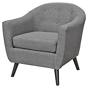 Febland Grey Cleo Fabric Tub Chair, Linen, 77x74x79 cm