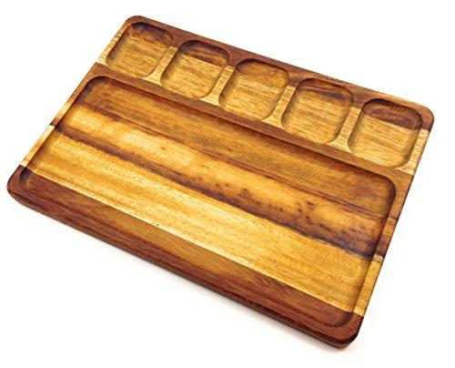 Prosharp vassoio in legno massello (teak africano) 100% ecologico ♻️ con 5 scomparti 45x35x3 cm