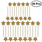 ULTNICE 50pcs Star Cupcake Toppers Glitter Picks Cocktail Sticks Cibo stuzzicadenti Compleanno decorazioni per la festa nuziale torta (oro)