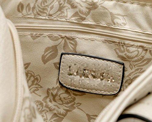 QPALZM Womens PU-Leder Top Handtasche Tube Satchel Style Zwei Reißverschluss-Verschluss A6