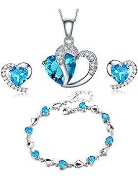Swarovski Element Sterling Silber Amethyst blaue Kristall-Herz-Form Cubic Zirkon Set Ohrringe und Anhänger Halskette...