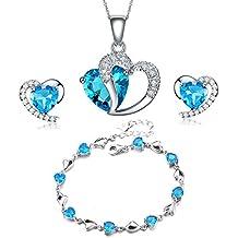 findout Argento swarovski sterling Ametista blu di cristallo del cuore forma cubica Zirconi Set Orecchini e pendente della collana / braccialetto d'argento (f1682)