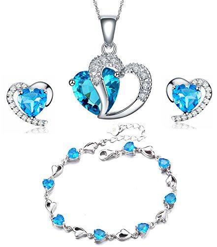 findout Sterling Silber Amethyst blaue Kristall-Herz-Form Cubic Zirkon Set Ohrringe und Anhänger Halskette / Silberarmband (f1682) (blauen Pendant + Earring + bracelet)