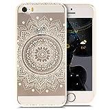 iPhone 5S Hülle,iPhone SE Hülle,iPhone 5 Hülle,ikasusBunte Kunst Gemalt Muster Kristallklar TPU Silikon Handy Hülle Tasche Crystal Case Durchsichtig Schutzhülle,Weiße Mandala Blume #2