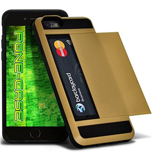 Fone-Case (Hot Pink) Apple iPhone 5 / SE Tough Armour hybride Couverture rigide de protection antichoc Cas avec emplacement de carte diapositive titulaire Gold