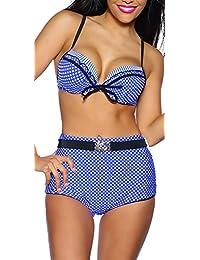 jowiha Retro Push Up Wende Bikini mit hoher Taille Vintage Pin Up Bikini in 4 Größen