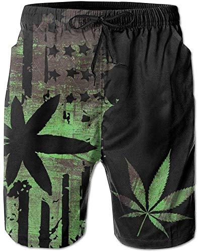 Zengdou Bañador de Hombre Mens Marijuana Weed Painting Summer Breathable Swim Trunks Beach Shorts Cargo...