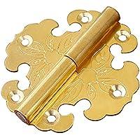 Cina Ming e Qing dinastie Bronzo Mobili Accessori Box e porta Armadio Cerniera smontabile Oro color 6.3* 6,2/6,3x 6,2cm 2pcs