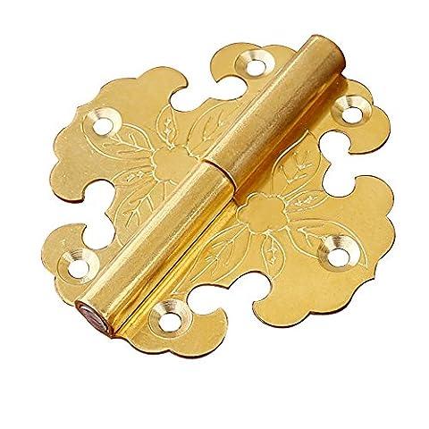 Chine Ming et Qing Bronze Meubles Boîte pour accessoires et porte Armoire porte Charnière amovible Couleur Or 6,3* * * * * * * * 6.2cm/6,3x 6,2cm Lot de 2