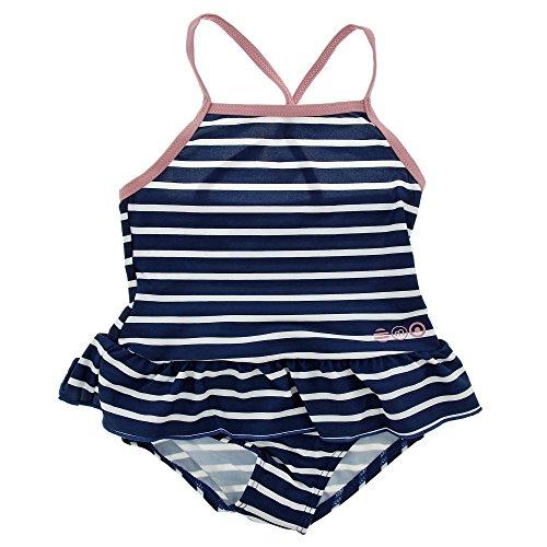 Minymo Baby Mädchen Einteiliger Badeanzug, Größe: 92-98 cm, Alter: 2-3 Jahre, 50+ UV Schutz, Farbe: Blau gestreift, (Wasser Babys Badeanzug)