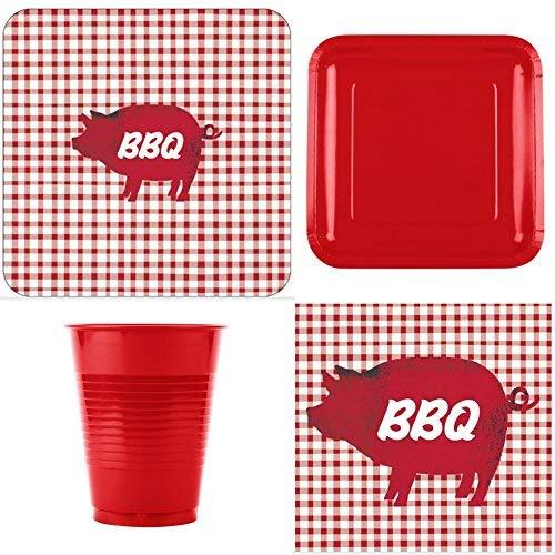 fakkos BBQ Pig Picnic Party Gingham Abendessen Supplies Abendessen Dessert Teller Servietten Becher für 16Personen (Platten Designer Papier)