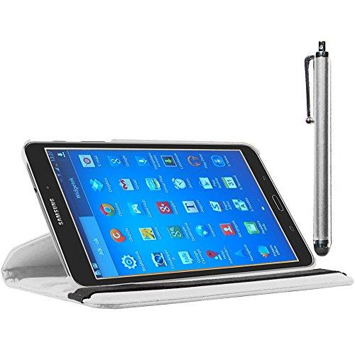 ebestStar - kompatibel Samsung Galaxy Tab 4 8.0 Hülle SM-T330, T331 SM-T335 Rotierend Schutzhülle Etui, Schutz Hülle Ständer, Rotating Case Cover Stand + Stift, Weiss [Tab: 210 x 124 x 8mm, 8.0'']