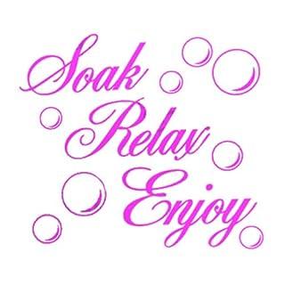 TOOGOO(R) SOAK RELAX ENJOY Bathroom Wall Art Sticker PVC Decal Home Art Decoration: Pink