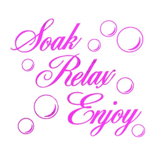 SODIAL(R) SOAK RELAX ENJOY Bathroom Wall Art Sticker PVC Decal Home Art Decoration: Pink
