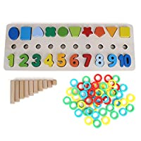 Zerodis Baby Blocks Shape Sorter Toy Baby Learning Cognitive Building Blocks Toys Colorful Wooden Geometry Shape Matching Puzzle Board Early Educational Toy Gift