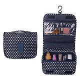 Eizur Imperméable d'pliable Trousse de Toilette Voyage Maquillage Sac Portable Multifonctionnel Rangement Bag Cosmétique avec Crochet Pendaison Organisateur Sacs--Marine Bleu