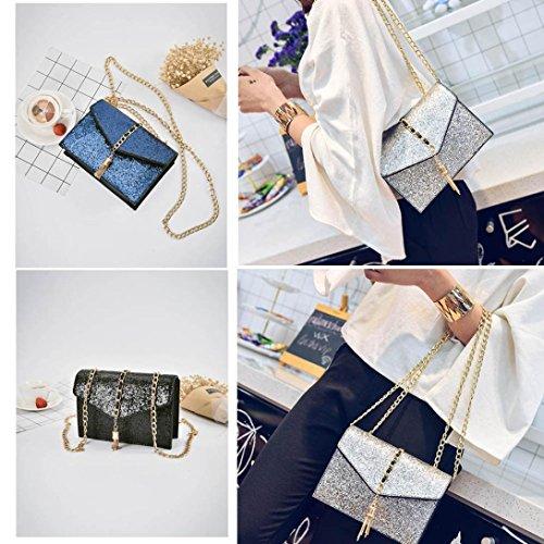 JERFER Damen Handtasche Leder glitzern Leder Schulter Paket Tote Cool Sequined Taschen Silber