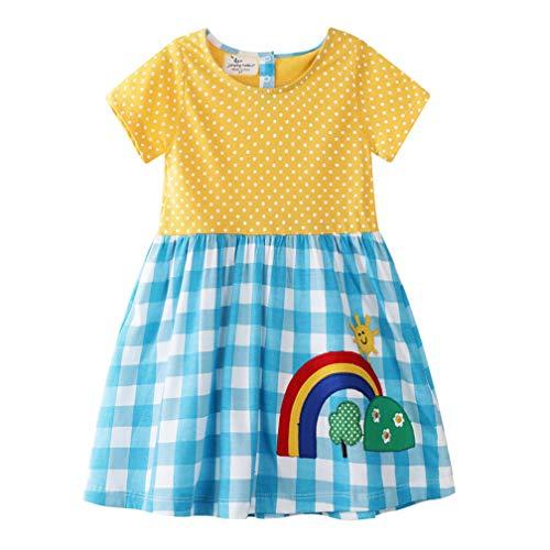 Mädchen Baumwolle Kurze Ärmel Kleid Lässiger süßer Drucken T-Shirt Kleid 1-7 Jahre (2-3 Jahre, Blau Gitter) -