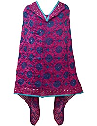 A Pure Blend Of Punjab Chanderi Dark Pink Phulkari Dupatta With Blue Color Embroidery By Fly Soul