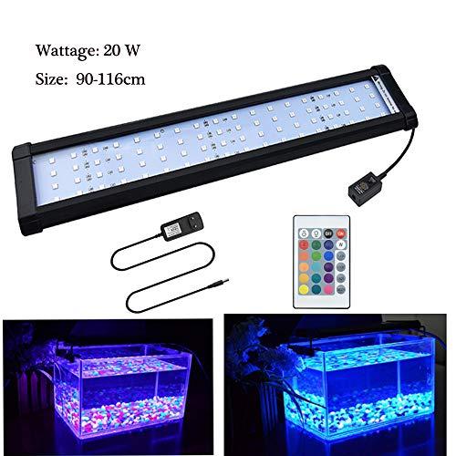 Luxvista LED Aquarium Lampe 12W/20W RGB Dimmbar Fische Tank Beleuchtung Aufsetzleuchte 50-100cm Süßwasser Wasserpflanzen mit Fernbedienung RGB Farbwechsel -