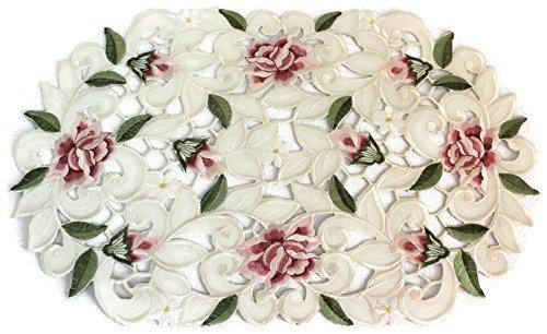 Tisch-Sets oder Deckchen bestickt mit Light Pink Durchbrucharbeit Rosen, Größe 27,9x 43,2cm (Rose Doily)