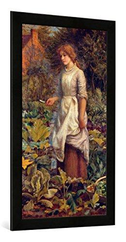 Gerahmtes Bild von Arthur Hughes Die Gärtnerin, Kunstdruck im hochwertigen handgefertigten Bilder-Rahmen, 50x100 cm, Schwarz matt -