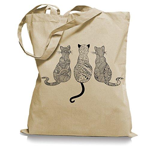 Ma2ca Cats - Katzen Tragetasche/Bag/Jutebeutel WM101-sand