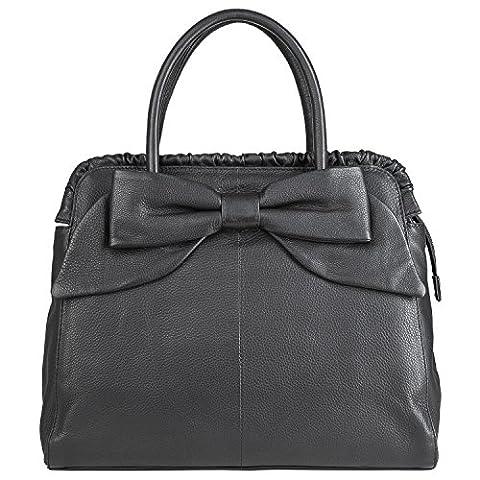 BACCINI tote bag - top-handle bag MILANO with bow - handbag black leather