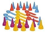 Lena 05501 - Happy Sand Kiga Set Eiswaffel und Eislöffel, 30 Teile, Sandspielzeug für Kinder ab 2 Jahre, Ausstattung für Kindergärten oder Geburtstags Party mit 20 Eistüten und 10 Löffel