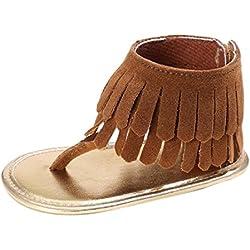 Zapatos de bebé, Switchali Recién nacido bebe niña verano Niños Cuna Suela blanda Antideslizante Sandalias Zapatillas niñas vestir floral borla casual moda Calzado (12 (6~12meses), MarróN)