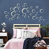 Wandtattoo Blubber Blasen - 40 Stück Deko Kreise in 3 D Optik - weiß