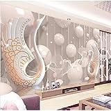 HONGYUANZHANG Benutzerdefinierte 3D Fototapete Moderne 3D Anaglyphen Schwan Schmuck Blume Wandbild Tv Hintergrund Wohnzimmer Schlafzimmer Wandbild 3D Wallpaper Roll,290cm (H) X 370cm (W)
