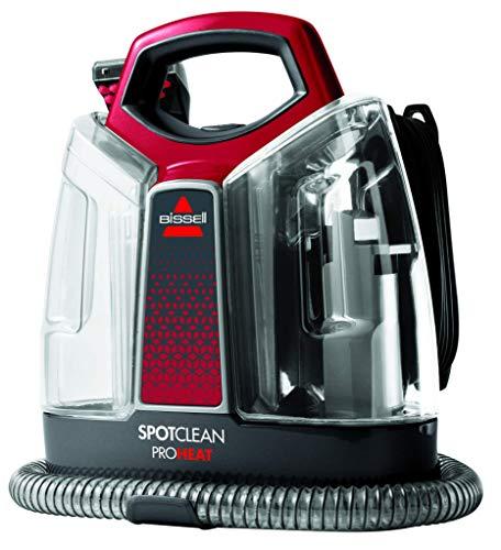 Bissell spotclean pro heat pulitore di macchie portatile, 330 w, 2.5 litri, 74 decibel, titanio/rosso