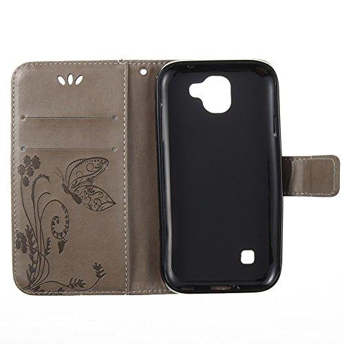 EKINHUI Case Cover Horizontale Folio Flip Stand Muster PU Leder Geldbörse Tasche Tasche mit geprägten Blumen & Lanyard & Card Slots für LG K3 2017 ( Color : Purple ) Gray
