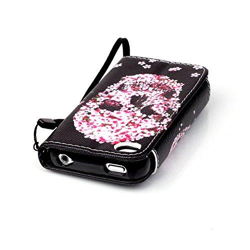 iPhone 4/4S Custodia Pelle,Ukayfe PU Disegni dipinto Case Cover Protettiva Portafoglio Protettivo Copertura Wallet Libro,Moda Disegno stampa dellunità di elaborazione di vibrazione del cuoio magnetic Petali Skull