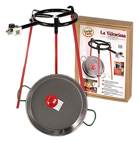 Eco Set paella pan 38cm: set of 3 square support legs + 38cm polished steel paella pan + 300mm gas burner