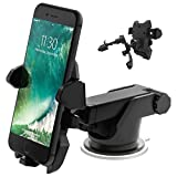 Car Phone Holder, Adjustable and Universal Dashboard Air Vent Car Mount Windshield Holder Cradle with Strong Sticky Gel Pad for Android and iOS Smartphone by La Ventus