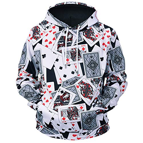 Unisex Playing Cards 3D Prints Peak Pullover Mens Hoodie Sweatshirt Jumper Jacket with Adjustable Hood and Front Pockets Team Club Couple Hoodies,M