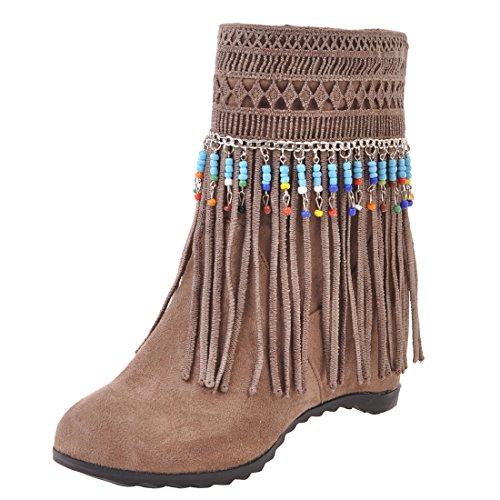 UH Damen Keilabsatz Stiefeletten Ankle Boots mit Fransen und Fell Vintage Retro Bequeme Herbst Winter Schuhe